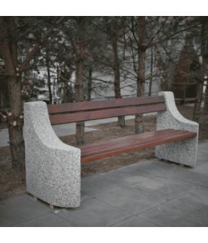 Скамья с деревянным сидением